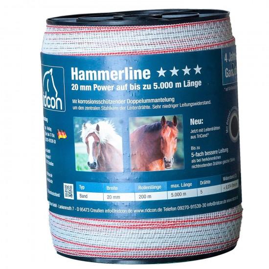 Hammerline Weidezaunband weiß/rot– 200m, 20mm 0