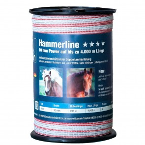 Hammerline Weidezaunband weiß/rot– 200m, 10mm 0
