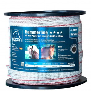 Hammerline Weidezaunband weiß/rot – 200m, 40 mm 0